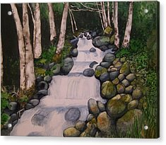 Acrylic Print featuring the painting Birch Trees By The Brook by Lynn Babineau
