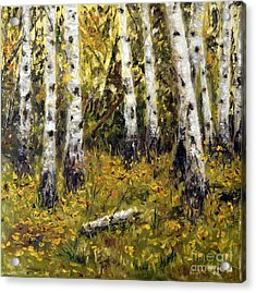 Acrylic Print featuring the painting Birches by Arturas Slapsys