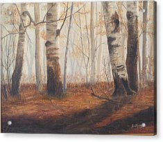 Acrylic Print featuring the painting Birches by Jan Byington