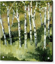 Acrylic Print featuring the painting Birches On A Hill by Michelle Calkins
