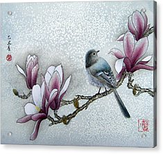 Bird And  Magnolia  Acrylic Print by Leaf Moore