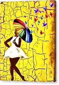 Bird Brella Acrylic Print by Romaine Head