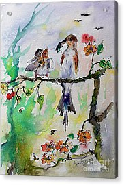 Bird Feeding Baby Watercolor Acrylic Print