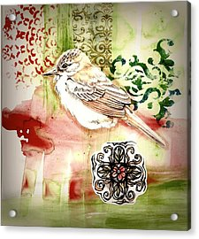 Acrylic Print featuring the mixed media Bird Love by Rose Legge