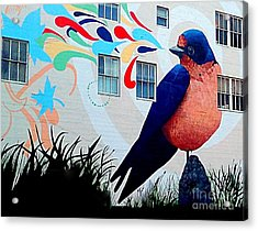 San Francisco Blue Bird Painting Mural In California Acrylic Print