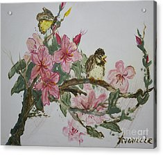 Acrylic Print featuring the painting Bird On Blossoms by Avonelle Kelsey