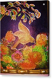 Bird On Flowers On A  Glorious Night Acrylic Print by Anne-Elizabeth Whiteway