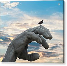 Bird On Hand Acrylic Print
