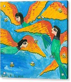 Bird People Bee Eaters For Artweeks Acrylic Print by Sushila Burgess