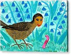 Bird People Blackbird And Worm Acrylic Print by Sushila Burgess