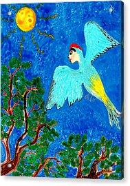 Bird People Green Woodpecker Acrylic Print by Sushila Burgess