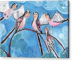 Bird People Long Tailed Tits Acrylic Print by Sushila Burgess