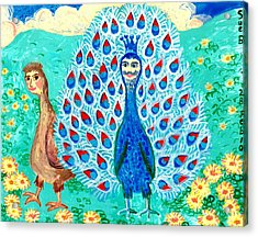Bird People Peacock King And Peahen Acrylic Print by Sushila Burgess
