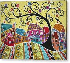 Bird Ten Houses And A Swirl Tree Acrylic Print by Karla Gerard