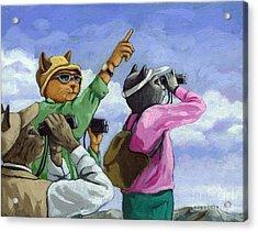 Bird Watchers - Fantasy Cat Oil Painting Acrylic Print
