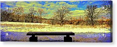 Bird Watchers Bench Winter Crabtree Nature Center Cook County Il Acrylic Print