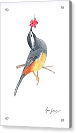 Minimal Bird And Flower Acrylic Print