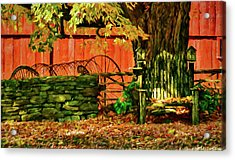 Acrylic Print featuring the photograph Birdhouse Chair In Autumn by Jeff Folger