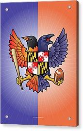 Birdland Baltimore Raven And Oriole Maryland Crest Acrylic Print