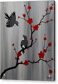 Birds And Blooms In Red Acrylic Print