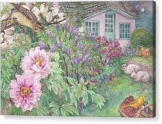 Birds And Bunnies In Cottage Garden Acrylic Print
