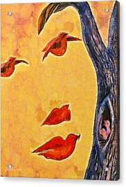 Birds And Tree - Pa Acrylic Print by Leonardo Digenio