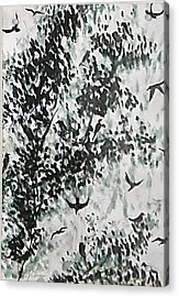 Birds At Sundown II Acrylic Print by Caroline  Urbania Naeem