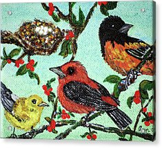 Birds By The Nest Acrylic Print by Ann Ingham