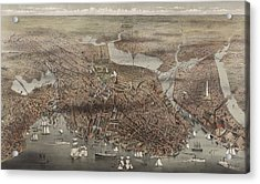 Birds Eye View Of The City Of Boston, Circa 1873 Acrylic Print by Currier and Ives
