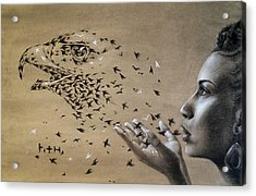 Birds Of Poetry  Acrylic Print by Fithi Abraham