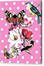 Birds, Flowers Butterflies And Polka Dots Acrylic Print