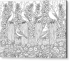 Birds In Flower Garden Coloring Page Acrylic Print