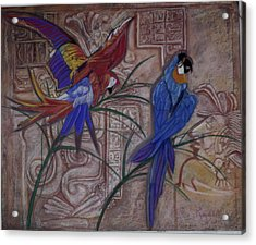 Birds On A Mayan Wall Acrylic Print