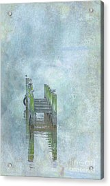 Acrylic Print featuring the digital art Birds On Abandoned Dock by Randy Steele