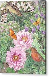 Birds Peony Garden Illustration Acrylic Print by Judith Cheng