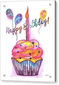 Birthday Cupcake Acrylic Print by Debbie DeWitt