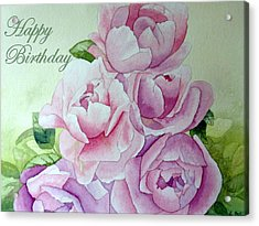 Acrylic Print featuring the painting Birthday Peonies by Laurel Best