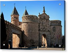 Bisagra Gate Toledo Spain Acrylic Print by Joan Carroll