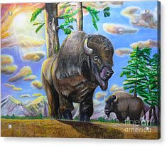 Acrylic Print featuring the painting Bison Acrylic Painting by Thomas J Herring
