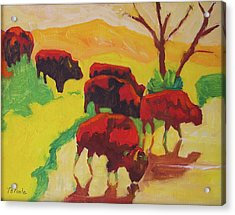 Bison Art Bison Crossing Stream Yellow Hill Painting Bertram Poole Acrylic Print by Thomas Bertram POOLE