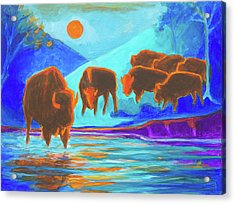 Bison Art - Seven Bison At Sunrise Yosemite Painting T Bertram Poole Acrylic Print by Thomas Bertram POOLE