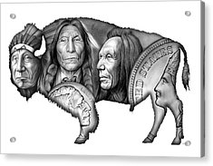 Bison Indian Montage 2 Acrylic Print by Greg Joens