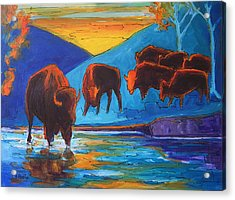 Bison Turquoise Hill Sunset Acrylic And Ink Painting Bertram Poole Acrylic Print by Thomas Bertram POOLE