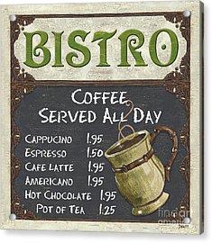 Bistro Chalkboard  Acrylic Print by Debbie DeWitt