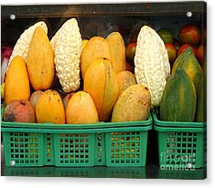 Bitter Gourds, Mangos And Papayas Acrylic Print