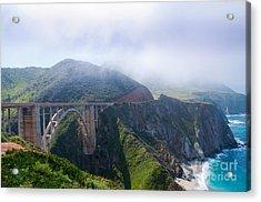 Bixby Bridge Fog Acrylic Print by Digartz - Thom Williams