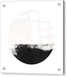Black And Blush Abstract Circle 1-art By Linda Woods Acrylic Print by Linda Woods