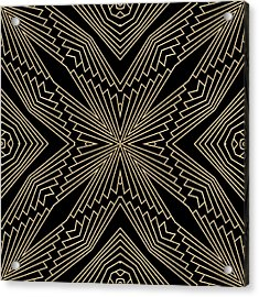Black And Gold Art Deco Filigree 003 Acrylic Print