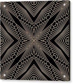 Black And Gold Art Deco Filigree 003 Acrylic Print