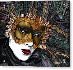 Black And Gold Carnival Mask Acrylic Print by Patty Vicknair